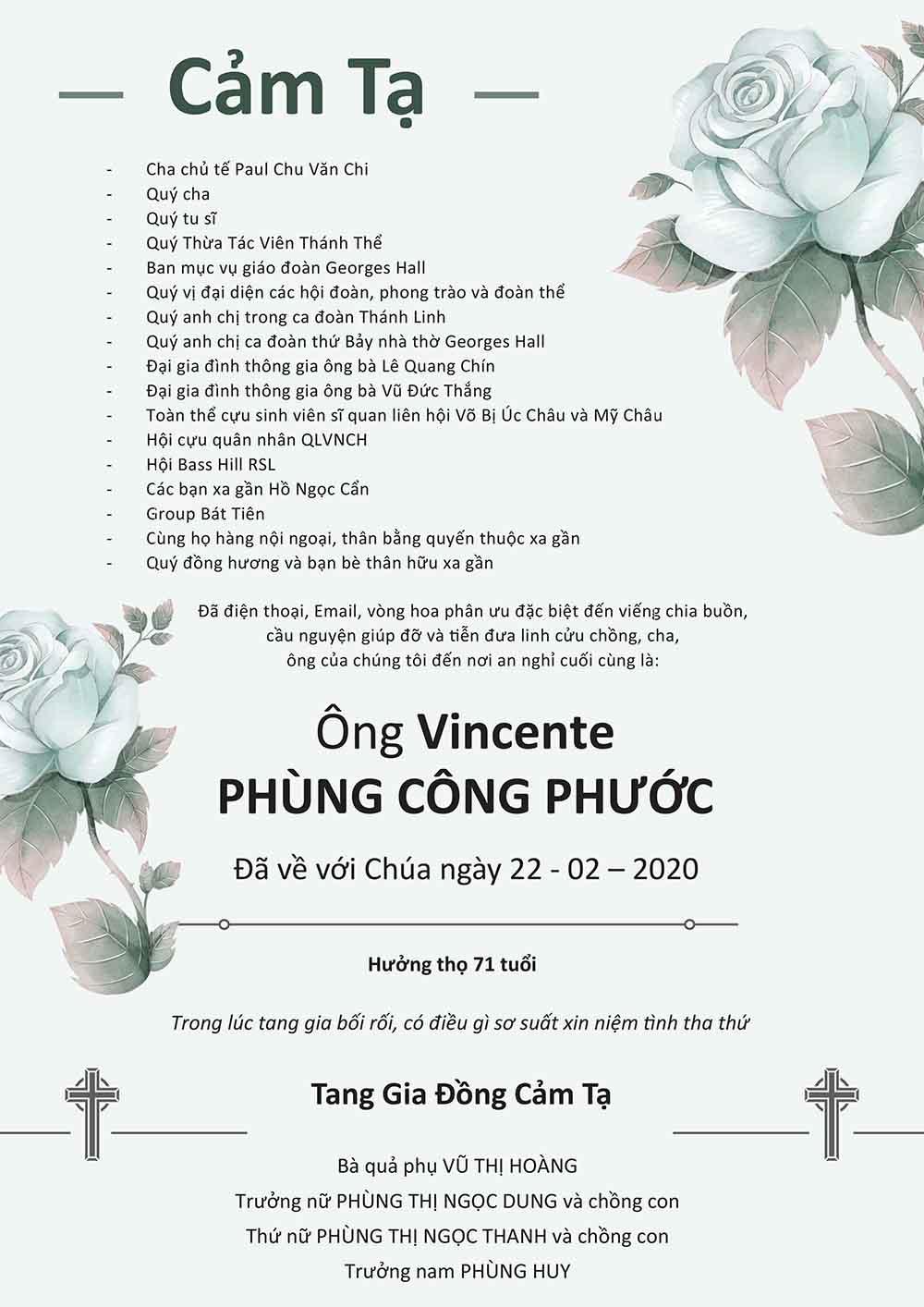 Cảm tạ từ gia đình ông Vincente Phùng Quang Phước